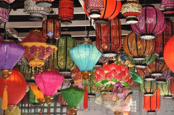 Many colourful Chinese lanterns