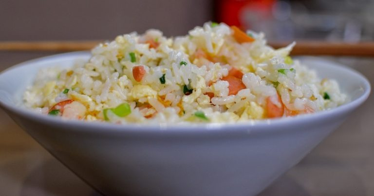 Egg fried rice from rice cooked in an electric rice cooker