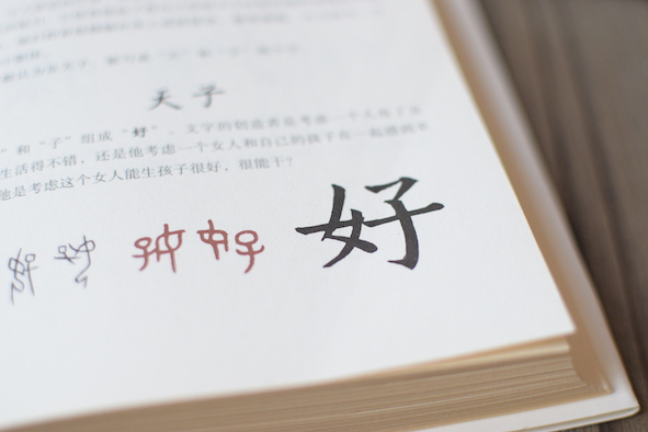 chinese character on a chinese book