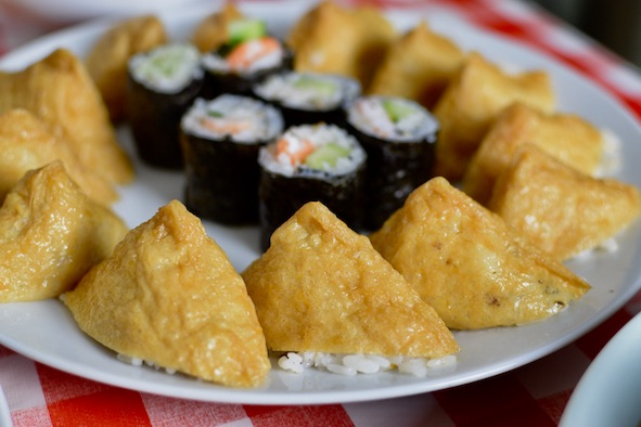 Triangle Bean curd sushi on a plate