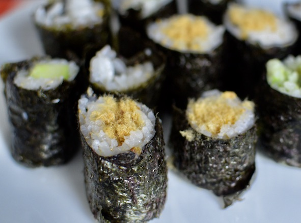 Sushi rolls with cucumber, pork floss and avocado